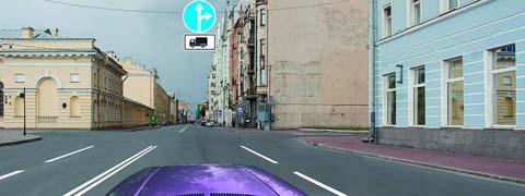 В каких направлениях Вы можете продолжить движение по второй полосе на легковом автомобиле?
