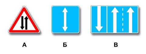 Какие знаки информируют Вас о приближении к началу участка дороги со встречным движением?
