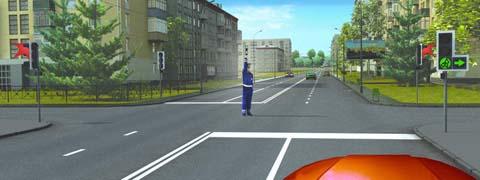 При таком жесте регулировщика и сигналах светофора Вы должны: