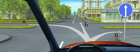 В каких направлениях Вам разрешено продолжить движение на перекрестке?