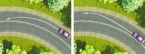На каком рисунке водитель выполняет левый поворот по траектории, обеспечивающей наибольшую безопасность движения?