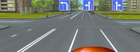 Двигаясь по средней полосе на легковом автомобиле, Вы можете продолжить движение: