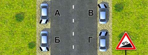 Для обеспечения безопасности при остановке на подъеме (спуске) водителю следует повернуть передние колеса. Водители каких транспортных средств правильно выполнили это требование при отсутствии тротуара?