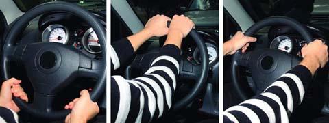 На каком рисунке показано правильное положение рук на рулевом колесе?