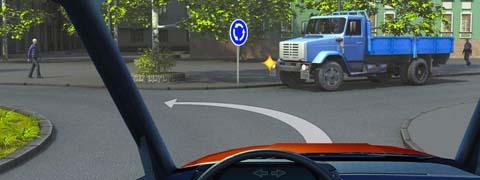 Вы намерены продолжить движение по перекрестку с круговым движением. Следует ли уступить дорогу грузовому автомобилю?