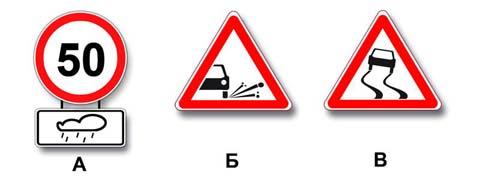 Какие знаки распространяют свое действие только на период времени, когда покрытие проезжей части влажное?