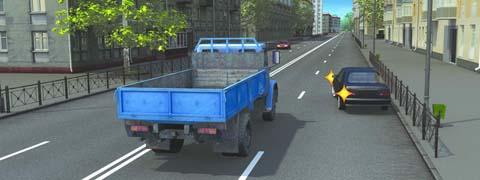 Может ли водитель легкового автомобиля в данной ситуации начать движение?