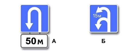 Какие знаки указывают протяженность зоны для разворота?