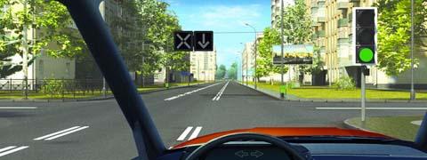 Разрешено ли Вам за перекрестком въехать на полосу с реверсивным движением?