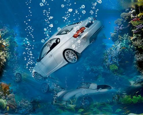 авто под водой